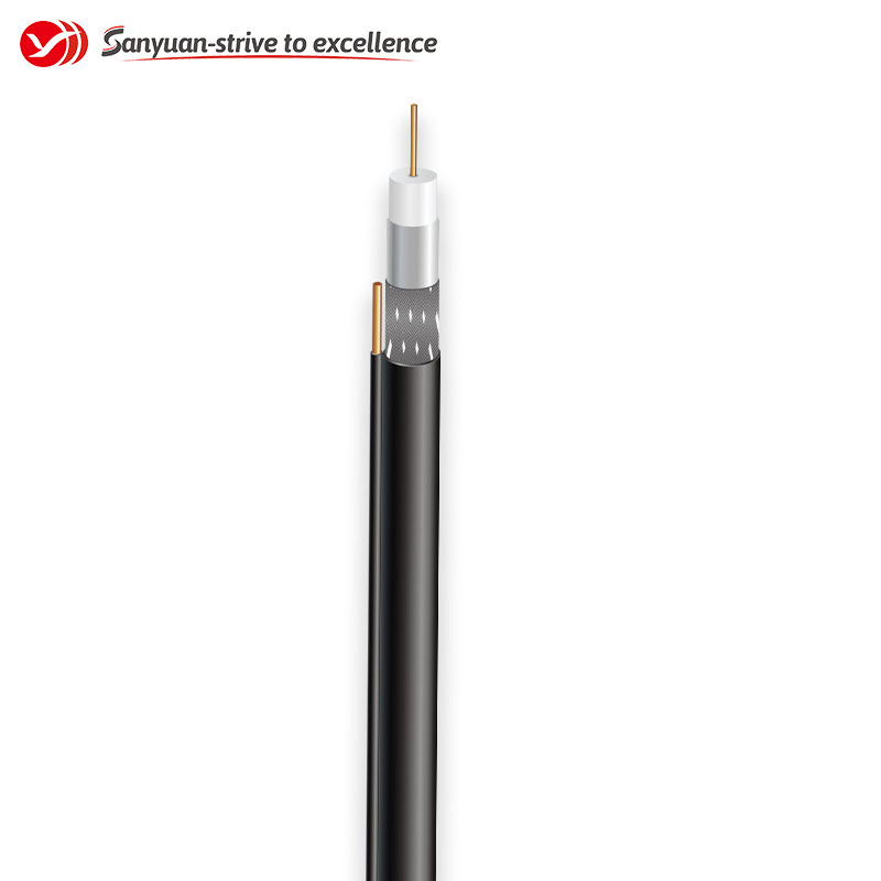 RG6 75 Ohm Cable Black PVC Jacket With Messenger Coaxial Drop Cable SYRG6BVM