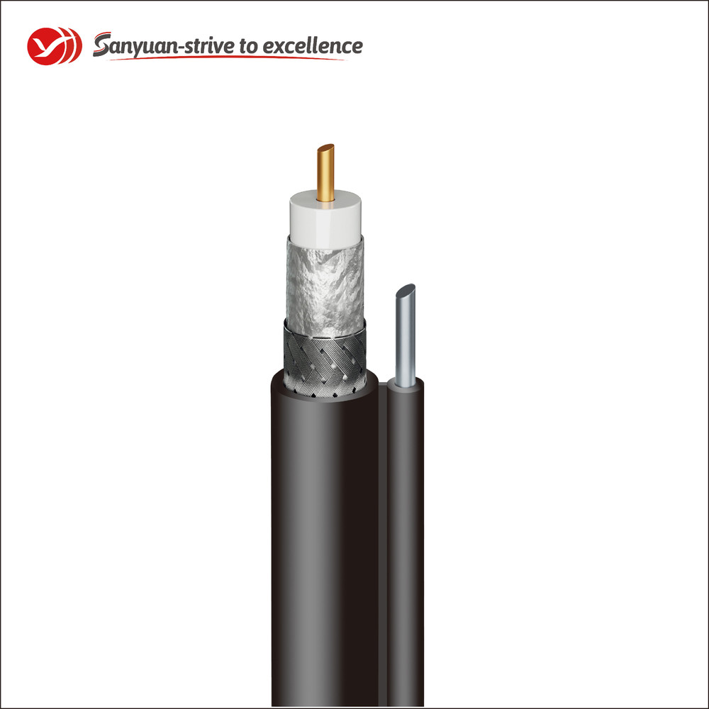 RG59 75 Ohm Coaxial Drop Cable Black PVC Jacket With Messenger SYRG59BVM