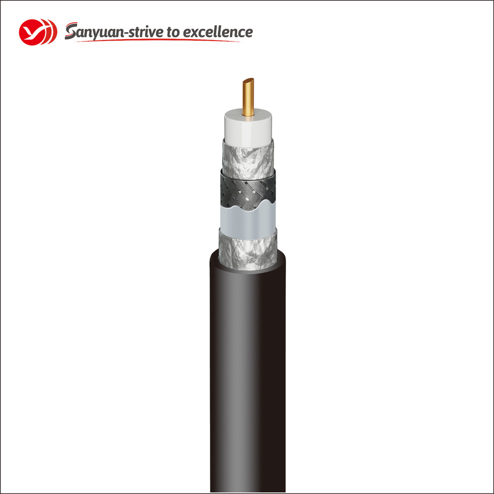 75Ohm RG6 Super Shield Coaxial Drop Cable Black PVC Jacket SYRG6TSV
