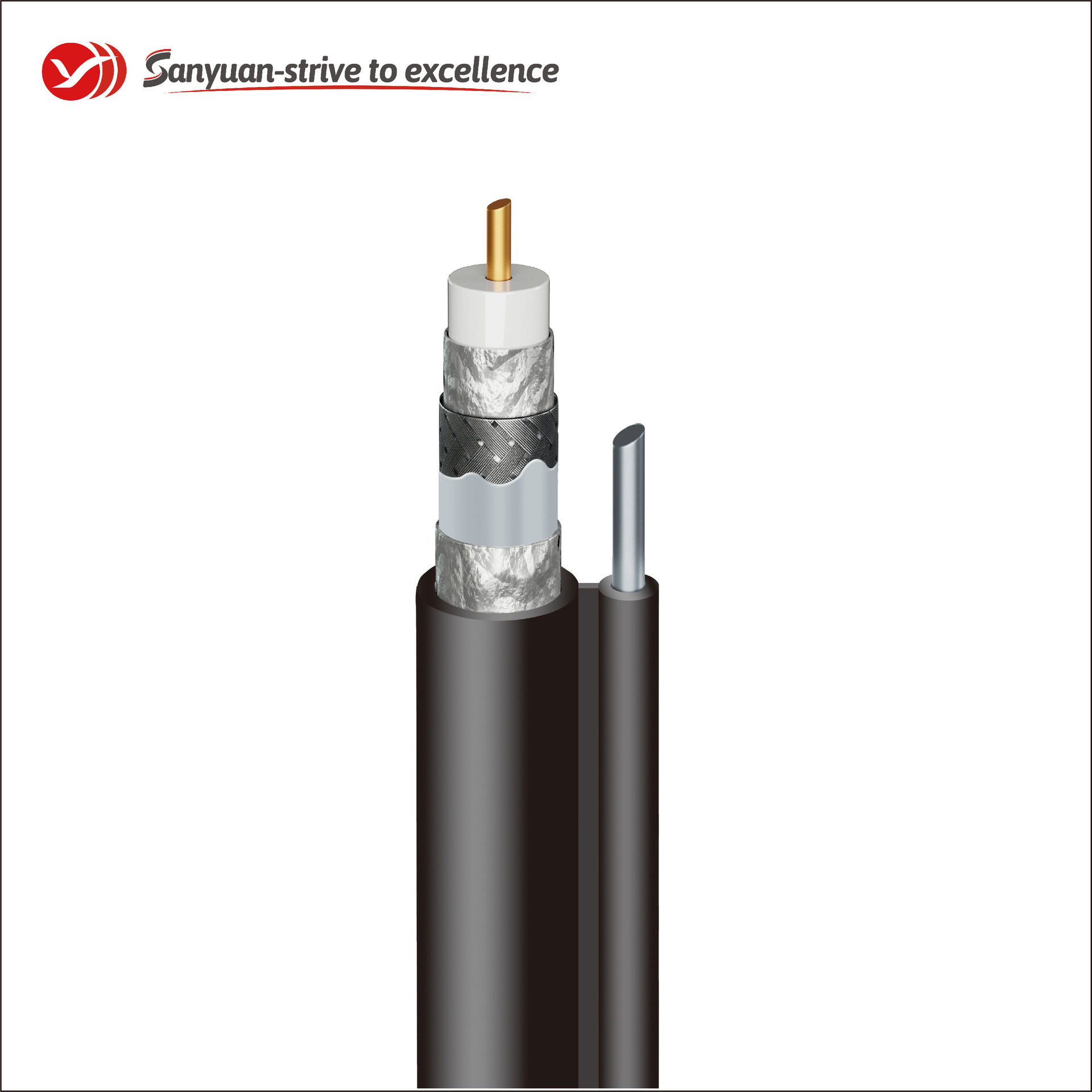 RG11 Coaxial Cable 75 Ohm Black PVC Jacket With Messenger SYRG11TSVM